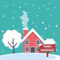 design de cartão de feliz natal de casa em paisagem de neve vetor