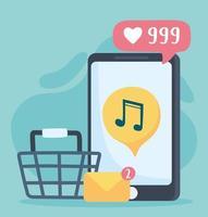 loja de música para smartphone e comunicação e tecnologias de rede social por e-mail vetor