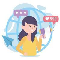 jovem mulher com tecnologia e comunicação de rede social mundial megafone vetor