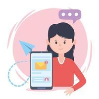 mulher smartphone e-mail conversa rede social comunicação e tecnologias vetor