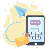 comunicação e tecnologias de rede social de mensagens de compras online para smartphone vetor