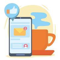 e-mail de mensagem de bate-papo de smartphone como comunicação e tecnologias de rede social vetor