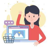 jovem mulher comprando online com laptop, comunicação de rede social e tecnologias vetor