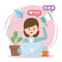 mulher com laptop marketing promoção internet rede social comunicação e tecnologias vetor