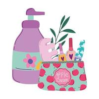 maquiagem cosméticos produto moda beleza manicure e pedicure bolsa e frasco dispensador de creme vetor