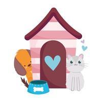 pet shop, cachorro e gato fofos com casa e tigela animal doméstico vetor