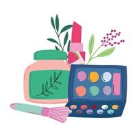 maquiagem cosméticos produto moda beleza paleta de sombras e creme para as mãos vetor