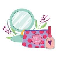 maquiagem moda beleza espelho cosmético bolsa e esmalte vetor