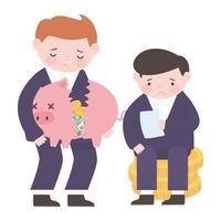 empresários falidos segurando cofrinho e moedas crise financeira