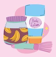 maquiagem, cosméticos, moda, beleza, escova, creme, cuidados da pele e loção corporal desenho animado vetor