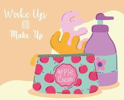 maquiagem cosméticos produto moda beleza cosméticos bolsa separadores de pedicure e frasco de loção vetor
