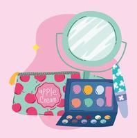 maquiagem cosméticos produto moda beleza cosméticos bolsa espelho sombra paleta lixa de unha vetor