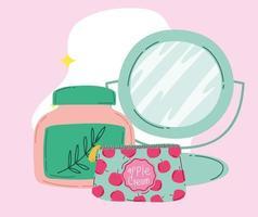 maquiagem cosméticos moda beleza cosméticos bolsa espelho e produtos para a pele vetor