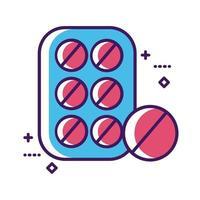 comprimidos de medicamentos selam a linha de medicamentos e preenchem o estilo