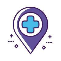 símbolo de cruz médica com linha de localização do pino e estilo de preenchimento vetor