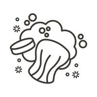 Saboneteira com espuma e partículas covid19 ícone de estilo de linha
