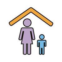 mãe e filho ficam na linha de casa e preenchem o ícone de estilo vetor