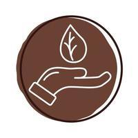 mão com ícone de bloco orgânico de planta de folha vetor
