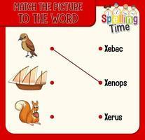 combinar a imagem com a planilha de palavras para crianças