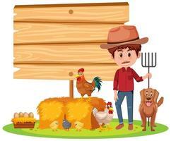 banner vazio com um fazendeiro com fazenda de animais em fundo branco vetor