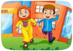 personagem de desenho animado de irmã e irmão muçulmano vetor