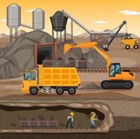 paisagem subterrânea de mineração de carvão vetor