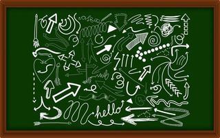 diferentes traços de doodle em um quadro de giz vetor