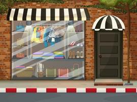 vitrine da frente da loja de roupas com roupas e acessórios vetor