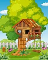 casa na árvore no cenário do parque vetor