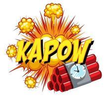 balão de fala em quadrinhos com texto kapow vetor