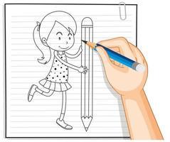 escrita à mão de menina segurando o contorno do lápis vetor
