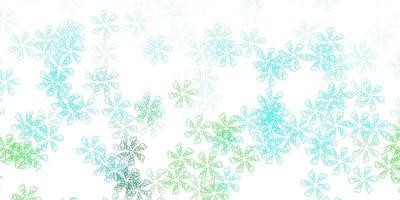 fundo abstrato do vetor azul e verde claro com folhas.