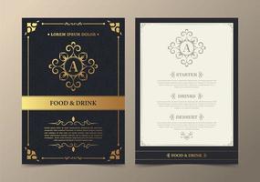 menu do restaurante com conjunto elegante de estilo ornamental vetor