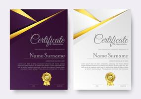 modelo de prêmio de certificado elegante em roxo e branco vetor