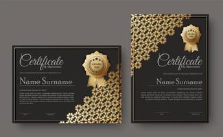 certificado escuro com conjunto de design padrão floral vetor