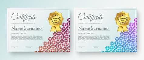 certificado de prêmio com conjunto de design de padrão floral vetor