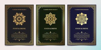 modelo de design de menu de restaurante de luxo com logotipo ornamentado vetor