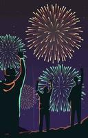 mão no ar para fogos de artifício esta noite vetor