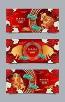 modelos de banner boi feliz ano novo chinês 2021 vetor
