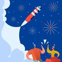 celebração de fogos de artifício no céu de ano novo com duas pessoas torcendo vetor