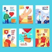 compartilhe seu design de cartão de conceito de doação de amor vetor