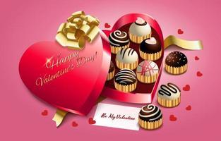 conceito de caixa de chocolate feliz dia dos namorados vetor