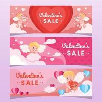 grupo de cupido fofo conceito de banner de venda do dia dos namorados vetor