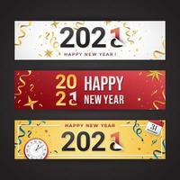 banner colorido feliz ano novo 2021 vetor