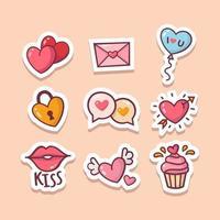 conjunto de adesivo de coração de dia dos namorados desenhado à mão vetor