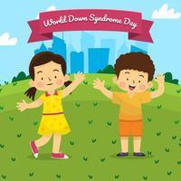 menino e menina com síndrome de down feliz brincando no parque com fundo de cidades no dia de céu azul vetor