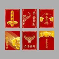 cartão de boi dourado vetor