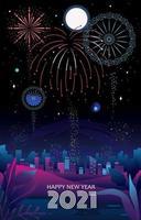 fogos de artifício com vista da cidade vetor