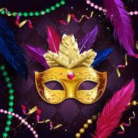 conceito de máscara e miçangas douradas de carnaval mardi gras vetor