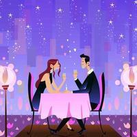casal jantar romântico vetor